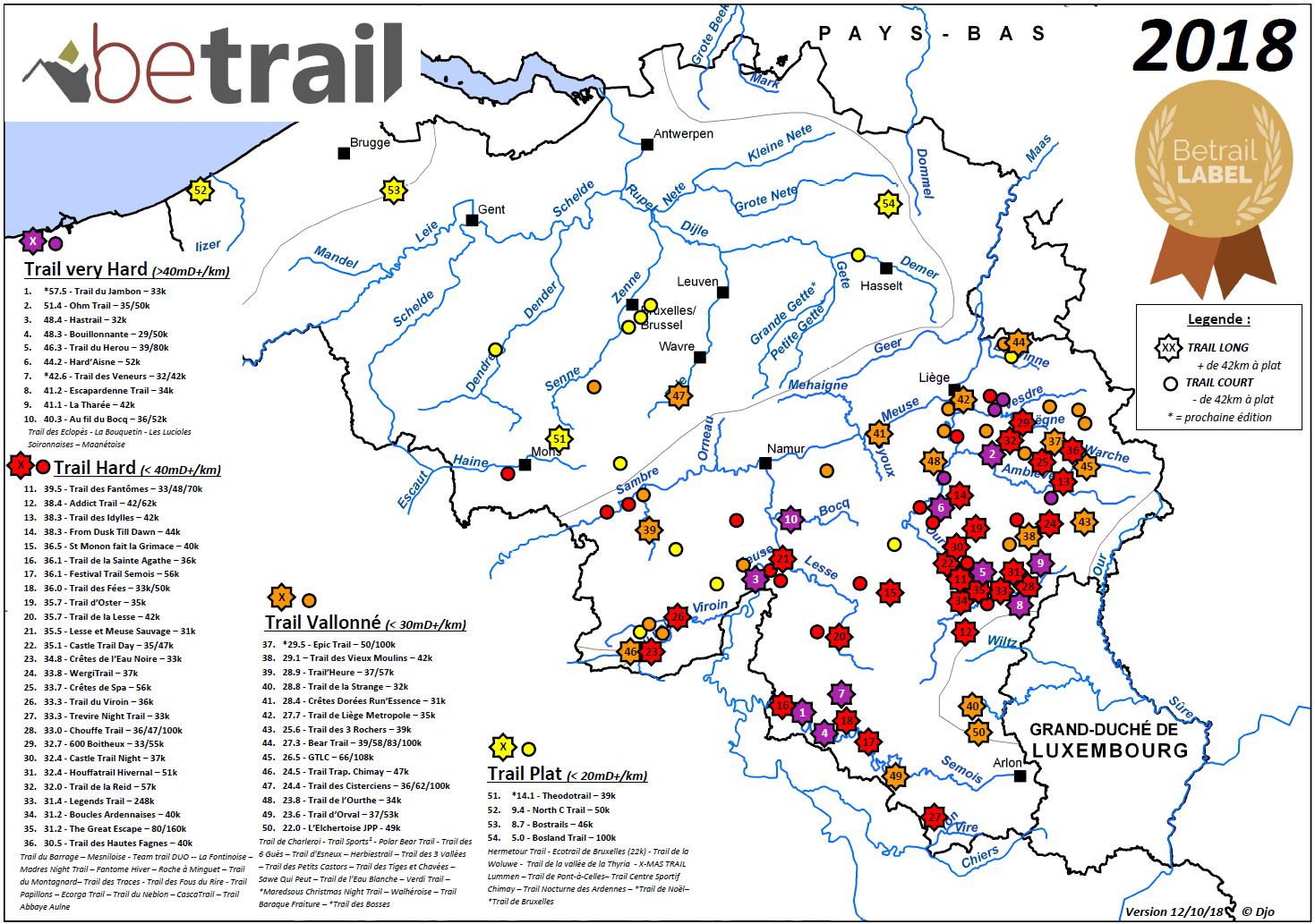 Carte trails avec label Betrail